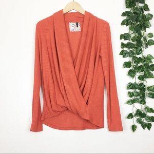 Akemi + Kin Orange Waffle Knit Wrap Front Sweater